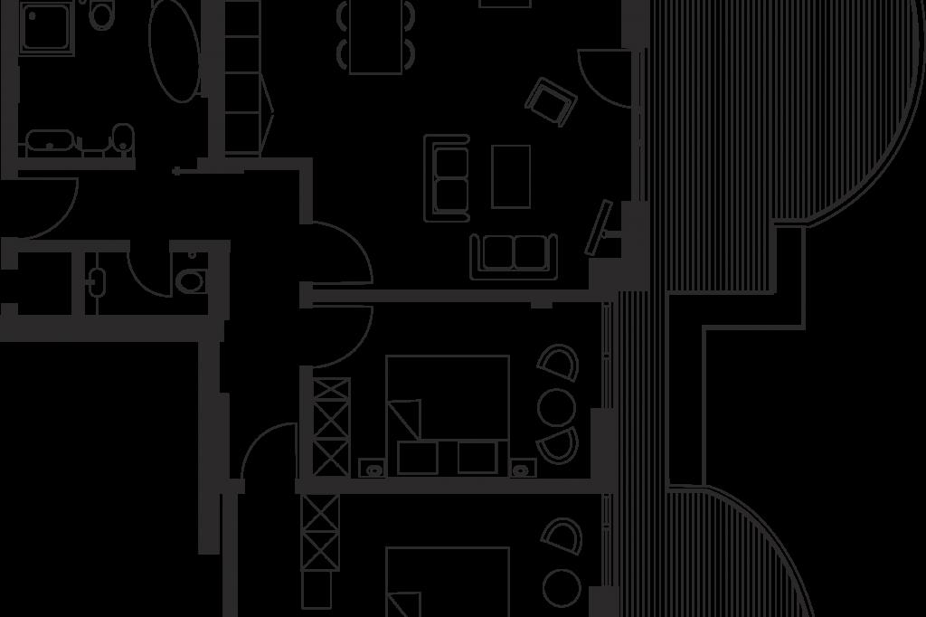 suite mit 2 schlafzimmern und balkon